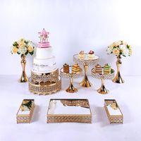 Outros Bakeware 5-14pcs Cristal Metal Bolo Stand Set Acrílico Espelho Decorações De Cupcake Dessert Pedestal Festa de Casamento Bandeja
