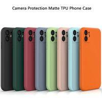 TPU Mat Sıvı Silikon Cep Telefonu Kılıfları Kamera Proquection iPhone 12 11 Pro Max XR XS 7 8 6 Artı