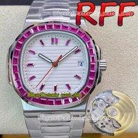 Eternity Hip Hop Watches RFF Versión personalizada 5711 Cal.324 S C Automático Iced Out T Ruby Diamond Inlay Bisel Blanco Dial de textura Reloj Hombre Reloj SS Steel Pulsera 5719