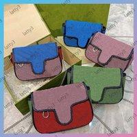 Tasarımcılar Kadınlar Renkli Çanta Pochette Çanta Moda Çapraz Omuz Çantası Tasarımcısı Çift Mektubu Trend Desen Zincir Çanta Mizaç Çanta