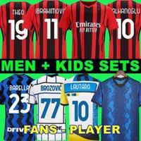 21 22 مراوح لاعب نسخة AC Soccer Milan Ibrahimovic Jerseys 2021 Tonali Kessie Bennacer The Men Kid مجموعات أطقم كرة القدم Inter Barella Lautaro Lukaku Hakimi Kolarov