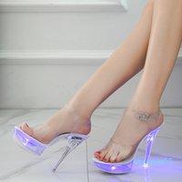 Светлый светящиеся обувь Женщина светящиеся чистые сандалии женщин платформенные обувь LED 13 см высокий каблук прозрачный стриппер каблуки обувь 078