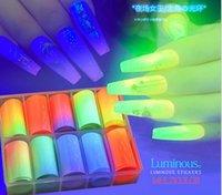 10rolls fluorescenti / scatole decorazioni per le unghie luminoso Mix colorato di trasferimento del chiodo della stagnola Sticker effetto luce unghie foglio di carta adesivi