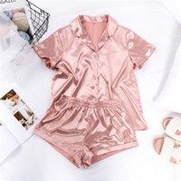 Summer Silk Sleepwear Short Sleeved Shirt Shorts Home Clothing 2 Piece Suit Women Solid Color Satin Pajamas