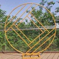 Décoration de fête Diamond Wedding Arch Mariage Toile de toile de fond en fer forgé Anneau créatif Cadre géométrique Stand Stape