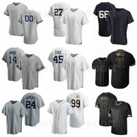 41 Miguel Andujar Jersey Baseball 36 Mike Ford 14 Tyler Wade 66 Kyle Higashioka 24 Gary Sanchez Flexbase bleu marine Blanc Blanc Gris Noir