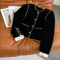 Autumn embroidery Vintage carriage gold button velvet temperament elegant small man versatile thin coat woman