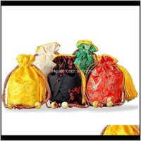 Wrap Event Festive Party Supplies Home & Gardenround Bottom Chinese Silk Brocade Tassel Dstring Gift Packaging Bag Satin Jewelry Pouch Small