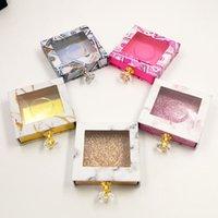 Crystal Handle Square Lash Box Box Alse Eyelash Packaging FAKE 3D Mink Scatole di ciglia Scatole Faux Cils Striscia Diamante Diamante Magnetico Caso Vuoto 10 Colori