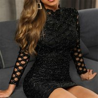 Casual Dresses Sexy Women Dress Autumn Vintage Bodycon Sequined Evening Party Club Hollow-out Sleeve Jersey Stretch Solid 2021 Sell
