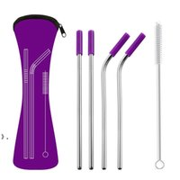6Pcs set Reusable Stainless Steel Straight Bent Drinking Straws with Silicone Tips for Hot Cold Beverage Drink Bar Tools OWF10390