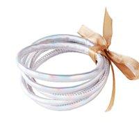 Charm Bracelets 5Pcs Bohemia Glitter Jelly Bangle Bracelet Set Bowtie PU Leather Hoop X7JB