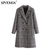 KPYTOMOA Kadınlar 2021 Moda Kruvaze Houndsthooth Yün Ceket Vintage Uzun Kollu Geri Havalandırma Kadın Giyim Şık Palto