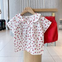 Summer Baby Girl Clothes Children's Infant Floral Shirts Tops And Red Short Pant 2 Piece Set Kids Toddler Casual Suit Clothing Sets
