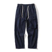 Men's Jeans Hip Hop Oversize For Men Button Pockets 2021 Denim Blue Patchwork Fashion Long Pants High Street