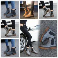 Matin Boots Women British PU Leather Ankle Chunky Heels Short Flat Spring Snow Dress Winter Fashion Shoes Inner Velvet 03jj#
