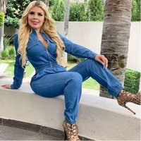 women's plus size jumpsuits Denim Rompers Zipper Fly Autumn Winter Outfits Jeans Overalls Night Club Party Long Sleeve