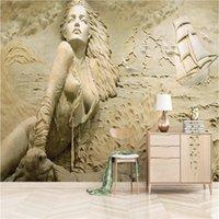 Обои Европейские 3D Стереоскопическое облегчение Золотой Приморский Сексуальная Красота Фон Настенные Обои Современное Трезвое искусство
