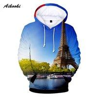 الرجال هوديس بلوزات فرنسا باريس برج إيفل 3D هوديي المرأة البلوز الخريف الشتاء