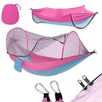 4 Colors Nylon Parachute Hammock With mosquito nets Camping Survival garden swing Leisure travel Portable outdoor furniture Q68