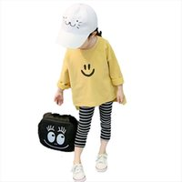 Vidmid İlkbahar ve Sonbahar Kızlar T Gömlek Moda Gülümseme Baskı Uzun Kollu Bebek Pamuk Çocuk Yuvarlak Boyun Üst P77