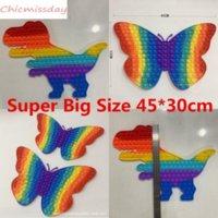 45cmx30cm Super Big Size Pop Fidget Toy Rainbow Dinosaur Butterfly pops Push Bubble Toys Stress Relief Autism Needs Kids Gifts