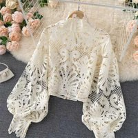 Women's Blouses & Shirts Thorn Tree Sexy Office Lady Lace Floral 2021 Hollow Out Spring Summer Lantern Sleeve Pullover Elegant Women Slim