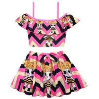 الصيف الطفل ملابس السباحة الفتيات قطعة من قطعة عالية الخصر المطبوعة بيكيني مجموعة قطعتين كشكش ابنة بوتيك المايوه للطفل ملابس البيع بالتجزئة
