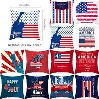American Independence Day Pillowcase Plush Impressão Digital Capa de Fruta Decoração de Casa Capa de Almofada de Carro 45 * 45cm NHF6319