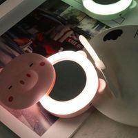 Wentylatory elektryczne Pink Mini Śliczna świnia Kształt Kształt Head Fill Light Led Lustro Wentylator USB Przenośny ładowanie Kieszonkowy Makeup