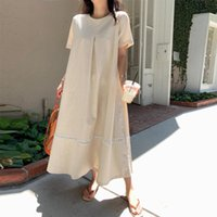 Party Dresses Women Bohemian Maxi Long Beach Dress 2021 Summer Short Sleeve Cotton Linen Casual Loose Plus Size Solid Oversize Vestido