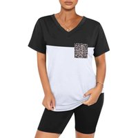 Sportswear Top And Shorts 2pc Set Women's Patchwork Print Short Sleeve V Neck Two Piece Outfits Biker #YG Tracksuits