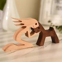 Figurine domestiche figurine famiglia cucciolo di legno cane artigianale figurine tavolo da tavolo ornamento orologio modello creativo decorazione ufficio creativo amore pet scultura