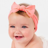 Cotton Elastic Born Baby Girls Solid Color Headband Knot Hai...