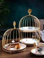 الإبداعية الكعكة المعدنية حامل طبقة واحدة / طبقة مزدوجة طبق الفاكهة المنزل الحلوى السيراميك غرفة المعيشة الجدول الديكور آخر خبز