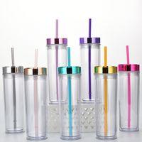 16 أوقية جدار مزدوج سميكة أكريليك كأس البهلوان مع غطاء القش الصيف قابلة لإعادة الاستخدام 450ML أكواب المياه عصير زجاجات زجاجات FY4611