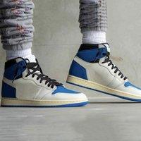 Box Sock Travis Scott x Fragment jumpman 1 chaussures de basket-ball pour hommes Sail Black Military Bleu Rose air jordan 1s High OG SP hommes femmes formateurs baskets de sport