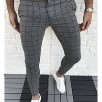 격자 무늬 패널 디자이너 연필 바지 패션 자연 색 카프리스 바지 캐주얼 스타일 망 바지 남성 옷