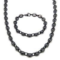 Earrings & Necklace Hip-hop Simple Men And Women Classic Fashion Wide Alloy Coffee Bean Chain Bracelet Set