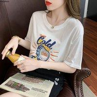 Houthion Damen T-Shirt Druck Top Plus Size Tops Dame T-shirts Mode Lässig Kurzarm T Sshirt Baumwolle Tshirt Oansatz