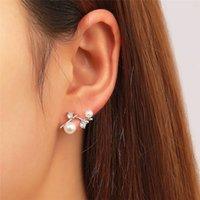 Women Geometric Pearl Diamond Stud Earrings Irregular Tree Branch Model Alloy Ear Drop European Business Party Wear Earring Jewelry Wholesale