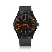 Men's new preferred HB automatic mechanical watch REQUIN black stainless steel case classic fusion orange three-hand calendar rubber strap