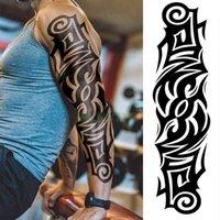 Autocollant à tatouage temporaire imperméable Noir ARM Noir Grand faux tatouage tatouage tatouage tatouages pour hommes femmes