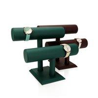 Relógio caixas Capas De Armazenamento T-Bar PU pulseira de couro Pulseira Stand Jóias Colar Colar Double Bar Hairband Show Rack
