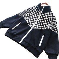 Autumn kids designer Coat fashion fall children plaid collar patchwork jacket 2021 boys girls casual long sleeve hooded outwear S1638