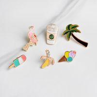 Cute Cream Tree Ice Brooches Metal Kawaii Buttons Decorative Badge Shirt Brooch Bag Jacket Denim Pin Enamel Cartoon For Women Girls Ldmsk