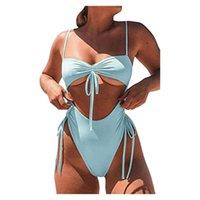 One-Piece Suits 2021 Sexy Solid One Piece Swimsuit Women Swimwear Badeanzug Female Lace Up Monokini High Waist Bathing Beach #T3G