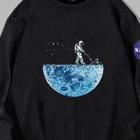 Männer T-Shirts Camisa D Plúcia Manga Longa Masculina Fminina, Blusa Algodão Solta Para Homns Mulhrs, Com Stampa Astronauta, Moda Casual LSW7