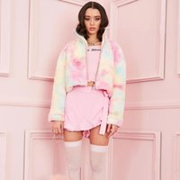 Winter Women's Imitation Fleece Coat Lapel Neck Loose Warm Tie Dye Printed Long Sleeve Thicken Teddy Jacket Jackets