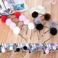 Women Girls Warm Pom Fur Ball Furry Ears Headband Hair band Head Accessory